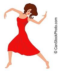 服, 女性, ダンス, 赤