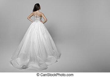 服, 女, ウエスト, 手, 若い, 長い間, 隔離された, 毛, バックグラウンド。, 彼の, 結婚式, 白, 後部光景