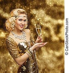 服, 女, ガウン, ガラス, 金, 金, 祝う, vip, レトロ, 豊富, 女の子, シャンペン, 女性, 照ること
