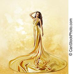 服, 女, ファッション, 美しさ, ガウン, twisted, 黄色, プリーツ, ポーズを取る, 長い間, モデル