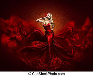 服, 生地, 女, 芸術, ガウン, 飛行, 振ること, 優雅である, ファッション, 赤, ファッション, 女の子, 絹の布