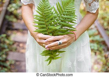 服, 葉, シダ, 緑, 森林, 保有物, 女の子, 白