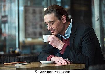 朗らかである, コーヒー, 人, 大袈裟な表情をしなさい, 味が分かる