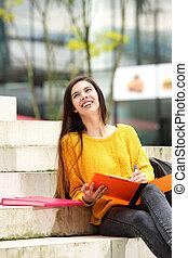 朗らかである, ノート, ステップ, 学生, モデル