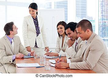 朗らかである, ビジネス チーム, モデル, 中に, オフィス