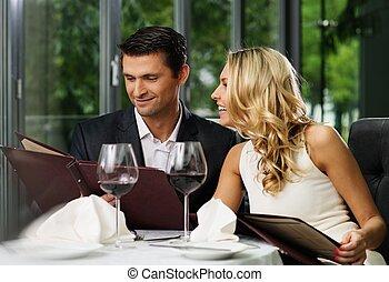 朗らかである, メニュー, 恋人, レストラン