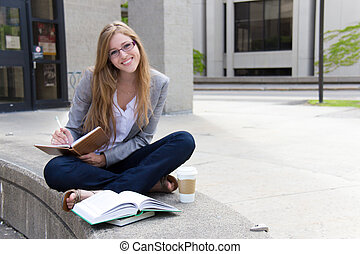 朗らかである, 勉強, キャンパス, 学生