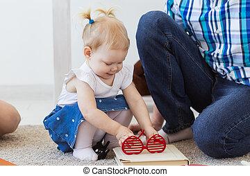 朗らかである, 単一, parent., 家族, 父, daughter., concept., 父性, 日, 父, ...