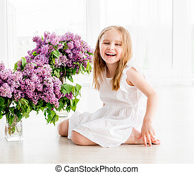 朗らかである, 女の子, 中に, 白いドレス, ∥で∥, ライラック, 花