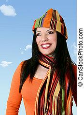 朗らかである, 女, 帽子, 冬, スカーフ