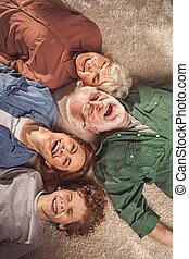 朗らかである, 家族, あること, 床