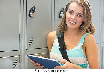 朗らかである, 彼女, タブレット, ロッカー, ∥横に∥, カメラ, 大学生, 使うこと, 見る