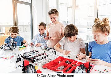 朗らかである, 微笑, 子供, 建設すること, lego