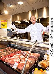 朗らかである, 新鮮な肉, 肉屋