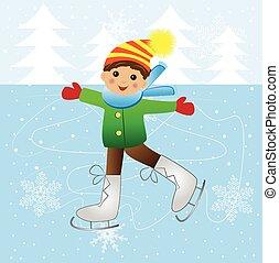 朗らかである, 男の子, スケート, 氷