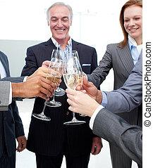 朗らかである, 祝う, 成功, ビジネス チーム