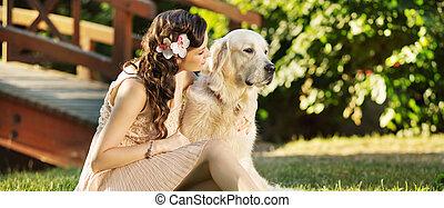 朗らかである, 美しい, 女, 犬, 彼女