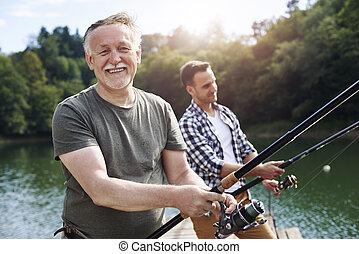 朗らかである, 肖像画, シニア, 釣り, 人
