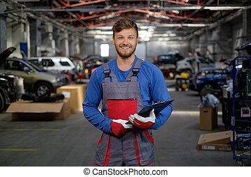 朗らかである, 自動車, ワークショップ, 修理人