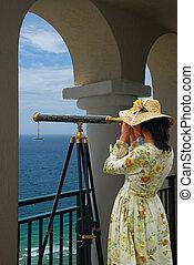 望远镜, 女孩, 弧