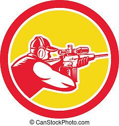 望遠鏡, 射手, レトロ, ライフル銃, 円, 狙いを定める