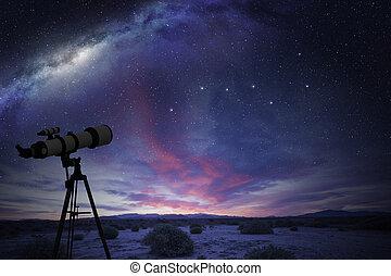 望遠鏡, 看, the, 偉大, 熊, 星座