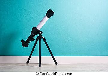 望遠鏡, 部屋, コピースペース, 男の子