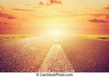 朝向, 瀝青, 長, sun., 路, 傍晚, 空