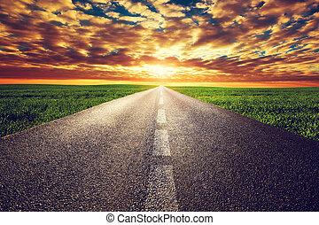 朝向, 路, 太陽, 直接, 長, 傍晚, 方式