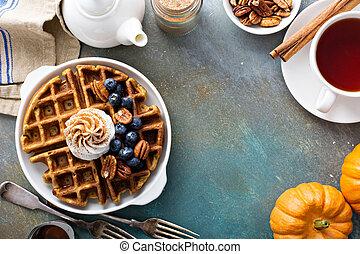 朝食, カボチャ, クリーム, むちで打たれた, ワッフル