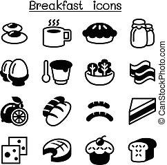 朝食, セット, アイコン