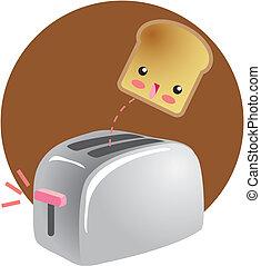 朝食, トースト, かわいい, 跳躍
