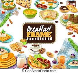 朝食, フレーム, 背景