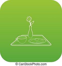 朝食, ベクトル, 緑, ベッド, アイコン