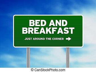 朝食, &, ベッド, 道 印