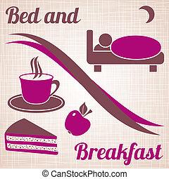 朝食, メニュー, ベッド