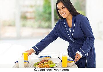 朝食, 女, indian, 家族, 準備