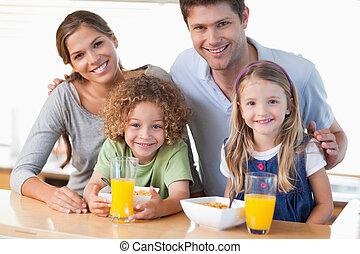 朝食, 持つこと, 家族, 幸せ