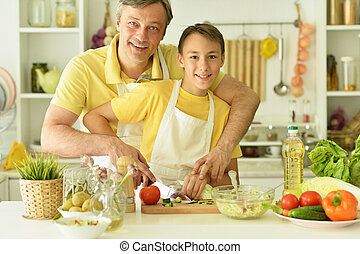 朝食, 料理, 父, 息子