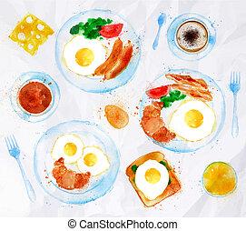 朝食, 水彩画, 卵, セット