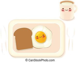 朝食, 美しい, セット