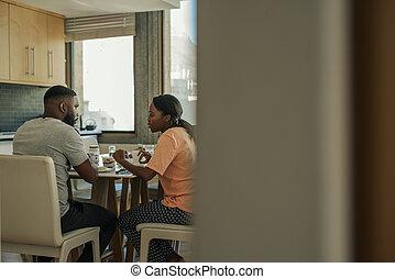 朝食, 若い, アメリカ人, アフリカ, 一緒に, 上に, 話し, 恋人