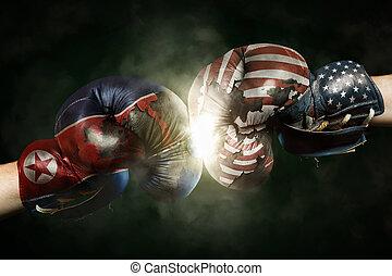 朝鮮, 北方, 美國, 拳擊, 政治, 手套, 在之間, symbolized, 危機
