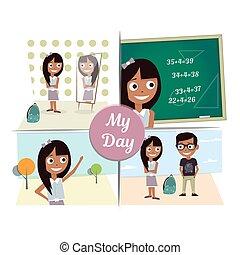 朝, 前に, ∥, 鏡, 学校, 歩きなさい, 最初 愛, ミーティング, a, guy.
