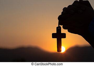 朝, 祈ること, 神聖な人, 交差点, 若い