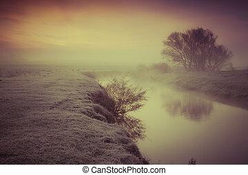 朝, 秋, 霧が濃い, river.
