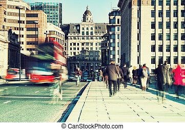 朝, 通勤者, 中に, london.