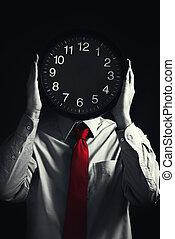 期限, 黒, 概念, 時計, ビジネスマン