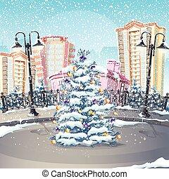 木の 冬, イラスト, クリスマス