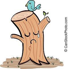 木の 切り株, 叫ぶこと